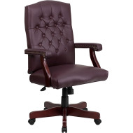 Flash Furniture Martha Washington Burgundy LeatherSoft Executive Chair with Arms - 801L-LF0019-BY-LEA-GG