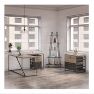 "Bush Refinery 62""W L-Shaped Desk with  37""W Return, Bookshelf and File Cabinets - RFY001RG"