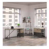 "Bush Refinery 62""W Industrial Desk with A Frame Bookshelf and File Cabinets -  RFY007RG"