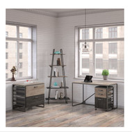 "Bush Refinery 50""W Industrial Desk with A Frame Bookshelf and File Cabinets -  RFY002RG"