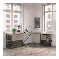"Bush Refinery 50""W L-Shaped Industrial Desk with 37""W Return and File Cabinets -  RFY009RG"