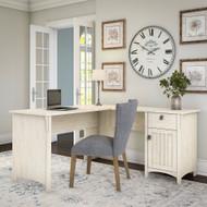 Bush Furniture Salinas Collection L-Shaped Desk with Storage Antique White - SAD160AW-03