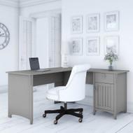Bush Furniture Salinas Collection L-Shaped Desk with Storage Cape Cod Gray - SAD160CG-03
