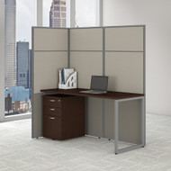 Bush Business Furniture Easy Office Cubicle Desk Workstation w File Cabinet 60W x 66H - EODH16SMR-03K