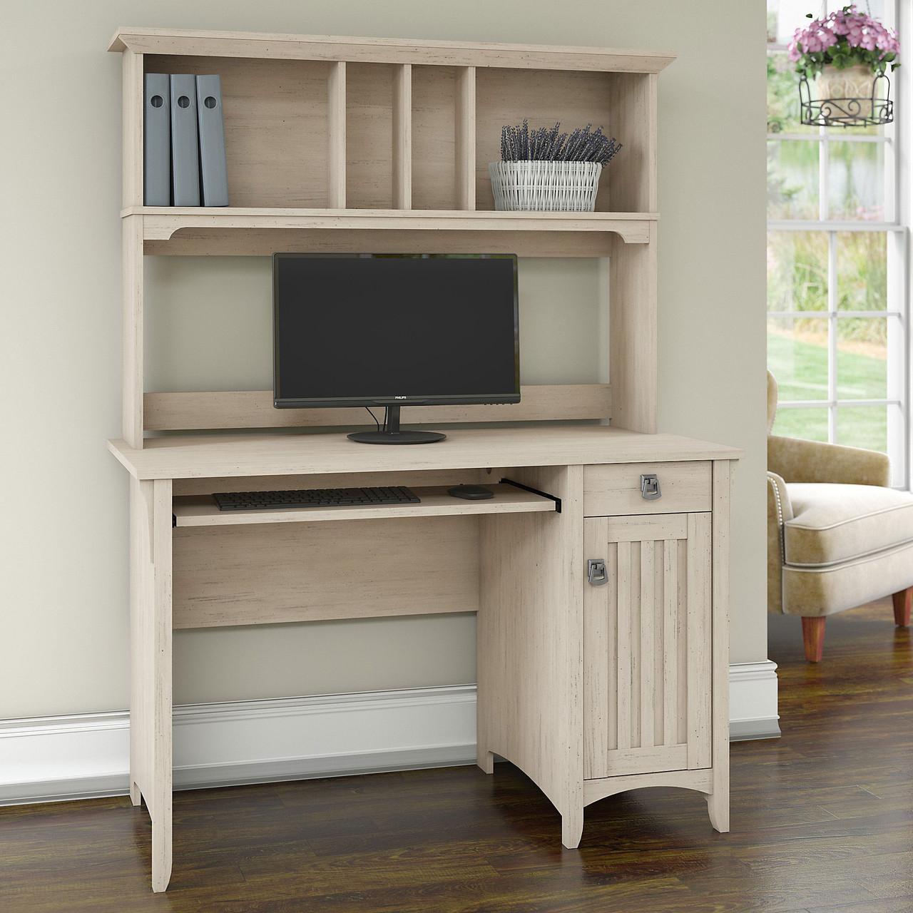 "Bush Furniture Salinas Desk and Hutch 43""Antique White - MY43-43"
