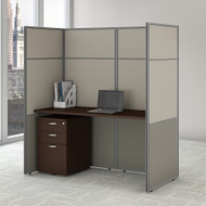 "Bush Business Furniture Easy Office Cubicle Desk w File Cabinet 60""W x 66""H Closed Panels Workstation - EODH26SMR-03K"