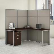 "Bush Business Furniture Easy Office L-Shaped Cubicle Desk w File Cabinet 60""W x 66""H Panels - EODH36SMR-03K"