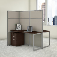 "Bush Business Furniture Easy Office 2 Person Cubicle Desk w File Cabinets 60""W x 66""H Panels - EODH46SMR-03K"