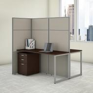 "Bush Business Furniture Easy Office 2 Person Cubicle Desk w File Cabinets 60""W x 66""H Panels - EODH46SMR-03K"