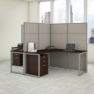 "Bush Business Furniture Easy Office 2 Person L Shaped Cubicle Desk w File Cabinets 60""W x 66""H Panels - EODH56SMR-03K"
