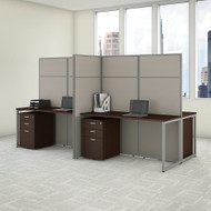 "Bush Business Furniture Easy Office 4 Person Cubicle Desk w File Cabinets 60""W x 66""H Panels - EODH66SMR-03K"