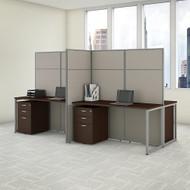 "Bush Business Furniture Easy Office 4 Person Cubicle Desk w File Cabinets 60""W x 66""H Panels - EODH66SMR-03K"