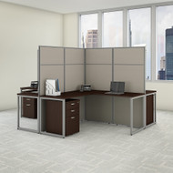 "Bush Business Furniture Easy Office 4 Person L Shaped Cubicle Desk w File Cabinets 60""W x 66""H Panels - EODH76SMR-03K"