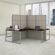 "Bush Business Furniture Easy Office 4 Person L Shaped Cubicle Desk 60""W x 66""H Panels - EODH760MR-03K"