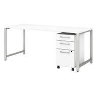"Bush Business 400 Series Table Desk 72"" and 3-Drawer Mobile Pedestal White -  400S151WH"