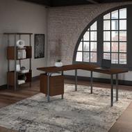 """Bush Furniture Architect 60""""W L Desk with Bookcase - ACT005MW"""