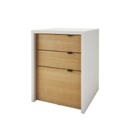 Nexera Chrono Collection 3-Drawer Filing Cabinet, White & Natural Maple - 211239