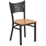 Flash Furniture Coffee Back Metal Restaurant Chair with Natural Wood Seat - XU-DG-60099-COF-NATW-GG