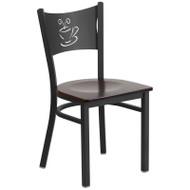 Flash Furniture Coffee Back Metal Restaurant Chair with Walnut Wood Seat - XU-DG-60099-COF-WALW-GG