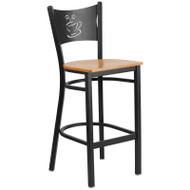 Flash Furniture Coffee Back Metal Restaurant Barstool with Natural Wood Seat - XU-DG-60114-COF-BAR-NATW-GG