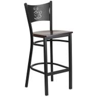 Flash Furniture Coffee Back Metal Restaurant Barstool with Walnut Wood Seat - XU-DG-60114-COF-BAR-WALW-GG