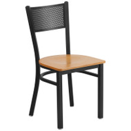 Flash Furniture Grid Back Metal Restaurant Chair with Natural Wood Seat - XU-DG-60115-GRD-NATW-GG