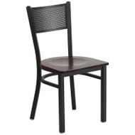 Flash Furniture Grid Back Metal Restaurant Chair with Walnut Wood Seat - XU-DG-60115-GRD-WALW-GG
