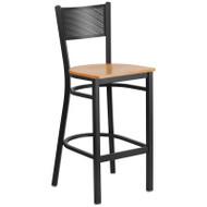 Flash Furniture Grid Back Metal Restaurant Barstool with Natural Wood Seat - XU-DG-60116-GRD-BAR-NATW-GG