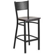 Flash Furniture Grid Back Metal Restaurant Barstool with Walnut Wood Seat - XU-DG-60116-GRD-BAR-WALW-GG