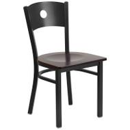 Flash Furniture Circle Back Metal Restaurant Chair with Walnut Wood Seat - XU-DG-60119-CIR-WALW-GG