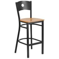 Flash Furniture Circle Back Metal Restaurant Barstool with Natural Wood Seat - XU-DG-60120-CIR-BAR-NATW-GG