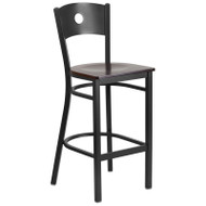 Flash Furniture Circle Back Metal Restaurant Barstool with Walnut Wood Seat - XU-DG-60120-CIR-BAR-WALW-GG