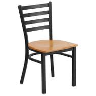 Flash Furniture Ladder Back Metal Restaurant Chair with Natural Wood Seat - XU-DG694BLAD-NATW-GG