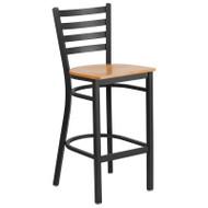 Flash Furniture Ladder Back Metal Restaurant Barstool with  Natural Wood Seat - XU-DG697BLAD-BAR-NATW-GG