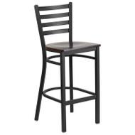 Flash Furniture Ladder Back Metal Restaurant Barstool with Walnut Wood Seat - XU-DG697BLAD-BAR-WALW-GG