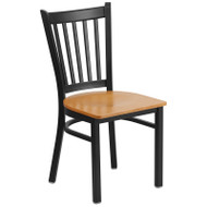 Flash Furniture Vertical Back Metal Restaurant Chair with Natural Wood Seat - XU-DG-6Q2B-VRT-NATW-GG