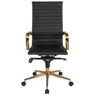 Flash Furniture High Back Black Ribbed Upholstered Leather Executive Office Chair with Gold Frame - BT-9826H-BK-GD-GG