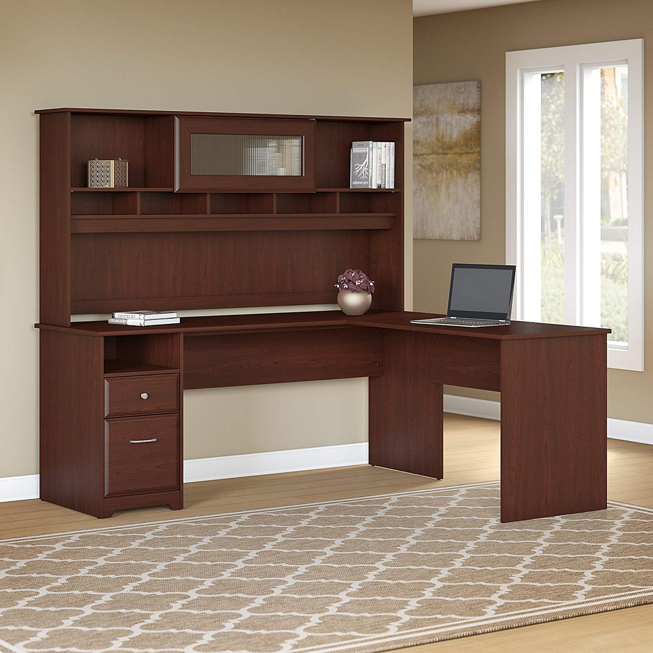 Bush Cab053hvc Cabot Collection 72 W L Shaped Computer Desk With Hutch And Drawers Free Shipping