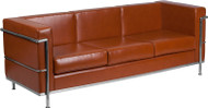 Flash Furniture Hercules Regal Series Contemporary Cognac LeatherSoft Sofa - ZB-REGAL-810-3-SOFA-COG-GG