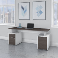 "Bush Business Furniture Jamestown Desk with File Storage 72"" - JTN003SGWHSU"