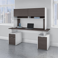 Bush Business Furniture Jamestown 72W Desk with File Storage and Hutch - JTN004SGWHSU