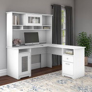"Bush Cabot Collection L-Shaped Desk & Hutch 60"" White - CAB001WHN"
