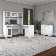 """Bush Cabot Collection L-Shaped Desk 60"""" Package White - CAB005WHN"""
