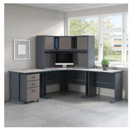 Bush Business Furniture Series A Corner Desk w Hutch Package - SRA061SLSU