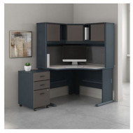 Bush Business Furniture Series A Corner Desk w Hutch Package - SRA040SLSU