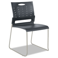 Alera Continental Series Plastic Stack Chair Charcoal Gray 4/Carton - SC6546