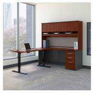 "Bush Business Furniture Series C Executive L-Shaped Desk 60"" with Height Adjustable Return Hansen Cherry - SRC110HCSU"