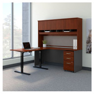 "Bush Business Furniture Series C Executive L-Shaped Desk 72"" with Height Adjustable Return Hansen Cherry - SRC109HCSU"