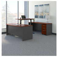 "Bush Business Furniture Series C Executive U-Shaped Desk 72"" with Height Adjustable Bridge Hansen Cherry - SRC111HCSU"