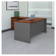 "Bush Business Furniture Series C Executive L-Shaped Desk 66"" with Return and Mobile Pedestal Hansen Cherry - SRC083HCSU"